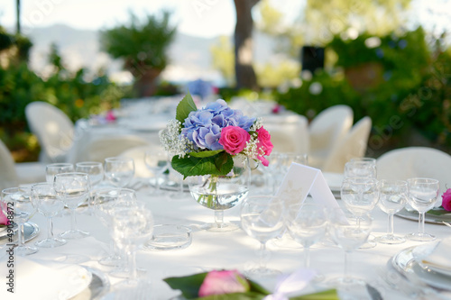 Table set for an event party