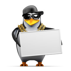 Penguin rapper holds a blank sign