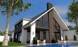 Fototapety Villa mit Satteldach