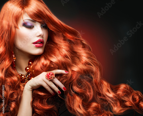 Poster Wavy Red Hair. Fashion Girl Portrait
