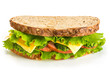 Sandwich with ham on white background