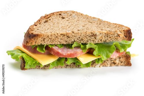Sandwich with ham on white