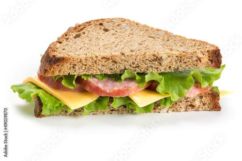 Sandwich with ham on white