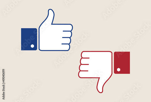 Thumb up and thumb down - like and dislike