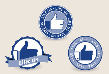 Thumb up labels, badges and stickers