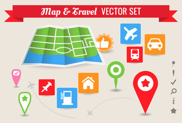 Map & Travel Markers - Vector Set