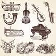 Vintage Musical Instruments vector illustrations, pack
