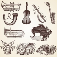 Vintage Musical Instruments vector illustrations, pack