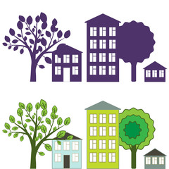 City illustration with houses and trees