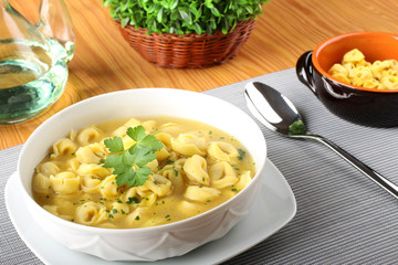 Stuffed tortellini in broth
