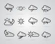 set of different grey weather icons