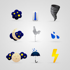 set of different color weather icons
