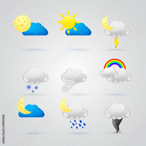 collection of different color weather icons