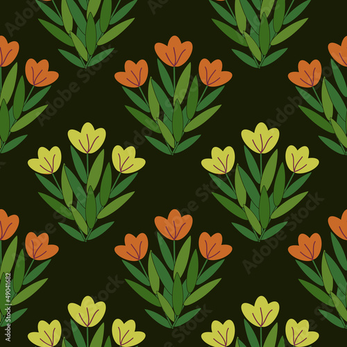 Seamless floral pattern with yellow and red flowers