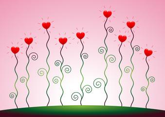 Herzblumen vor rosa Himmel – Vektor und Querformat