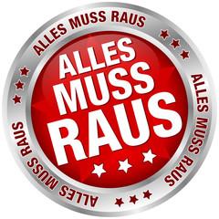 """Button """"Alles muss raus"""" rot/silber"""