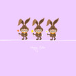 3 Bunnies Holding Spring Flowers Purple