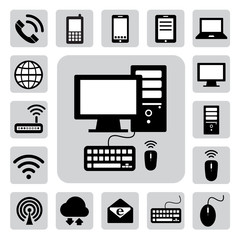 Icon set of mobile devices , computer and network connections ,I