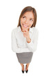 Thinking beautiful smiling business woman
