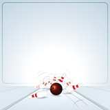 Bowling Strike. Ball Crashing into the Skittles