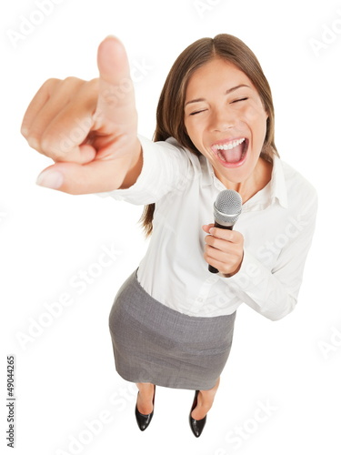 Woman singing or making a point