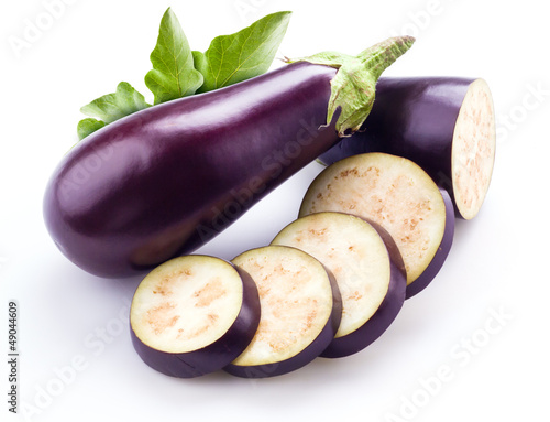 aubergine with leaves isolated on white