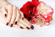 Spa manicure with red and white flowers closeup