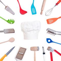 Kochwerkzeug und Kochhaube