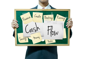 Business man holding board on the background, Cash flow
