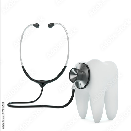 Isolated stethoscope examing tooth on white background