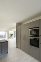 modern architecture, empty apartment, kitchen