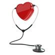 Isolated stethoscope and heart on white background