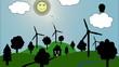 Cartoon Windräder mit lachender Sonne