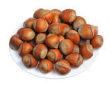 Hazelnuts, isolated