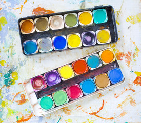 messy water-color paint-box