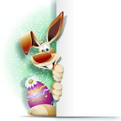 Easter Rabbit Cartoon with Panel-Coniglio di Pasqua con Pannello