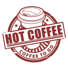 Stamp, with the text Hot Coffee written inside, vector