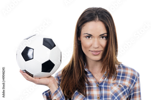 young adult woman with ball