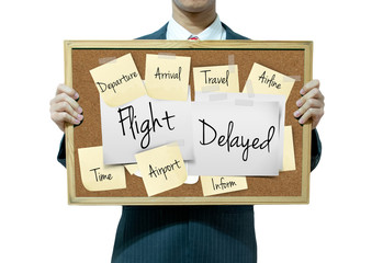 Business man holding board on the background, Flight Information