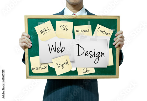 Business man holding board on the background, Web Design