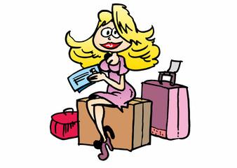 Frau mit Koffern