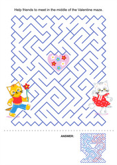 Maze game for kids - Valentine kittens