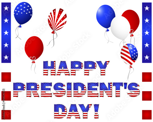 President's Day. Beautiful text and balloons.