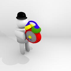 figura umana 3D porta una sveglia