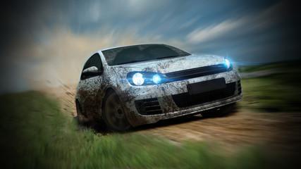 dirty racing car