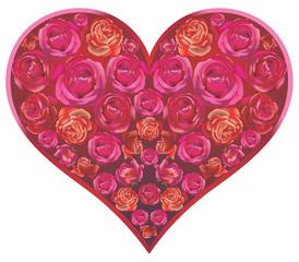 Coeur fleuri de roses