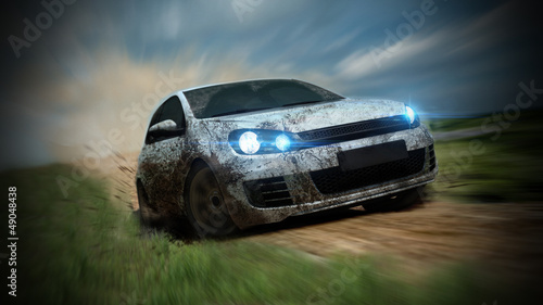 dirty racing car