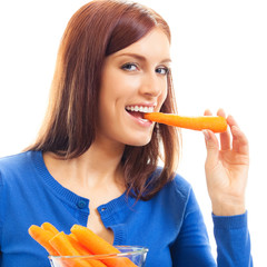 Cheerful woman eating carrots, over white