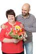 Mutter und Sohn mit Blumen