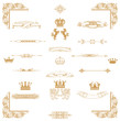 Vector set of gold decorativel elements